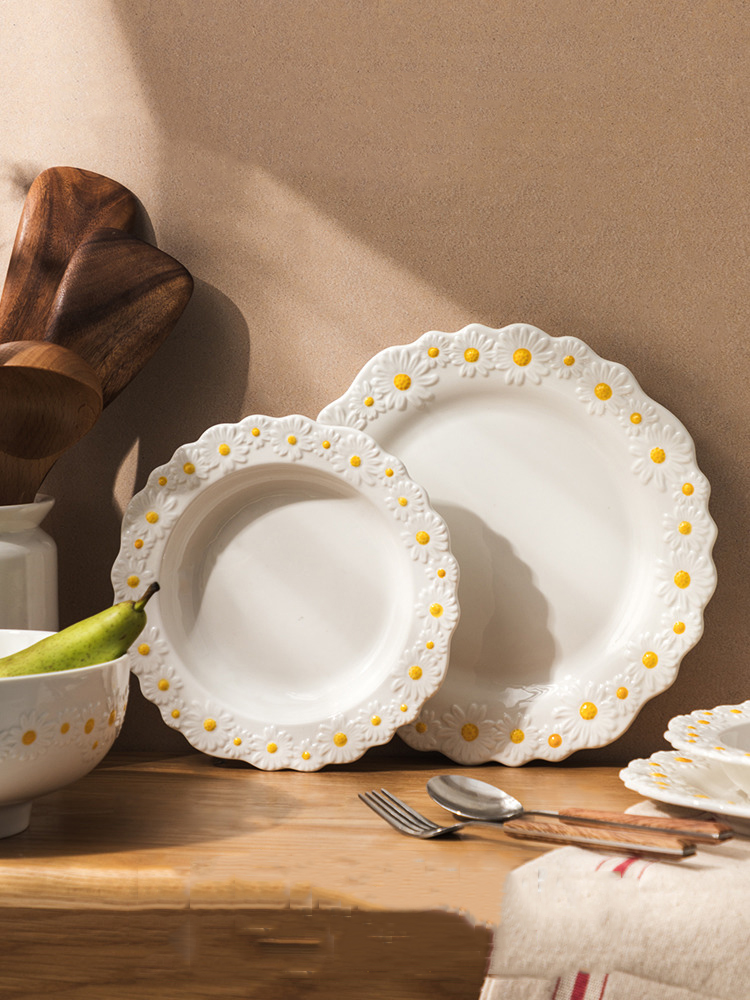 Ceramic Embossed Daisy Dinner Set Plate And Dishes Household Soup Bake Bowl Creative Crockery Tableware
