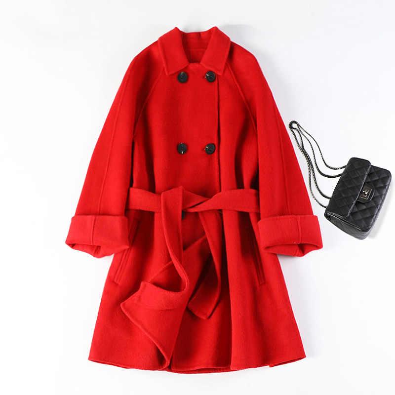 Die neue doppelseitige wolle woolen tuch mantel weiblichen mantel kurzen absatz zeigen dünne kleine lose null kaschmir mode