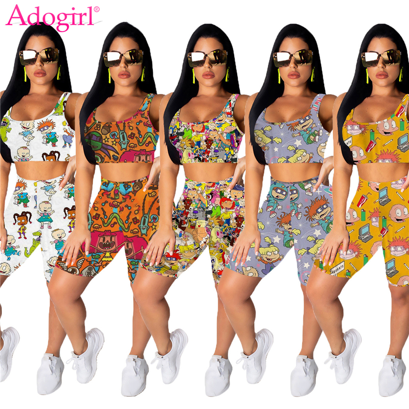 Adogirl Cartoon Print Women Tracksuit 2020 Summer Fashion Casual Two Piece Set Crop Tank Top Shorts Women Fitness Home Suit