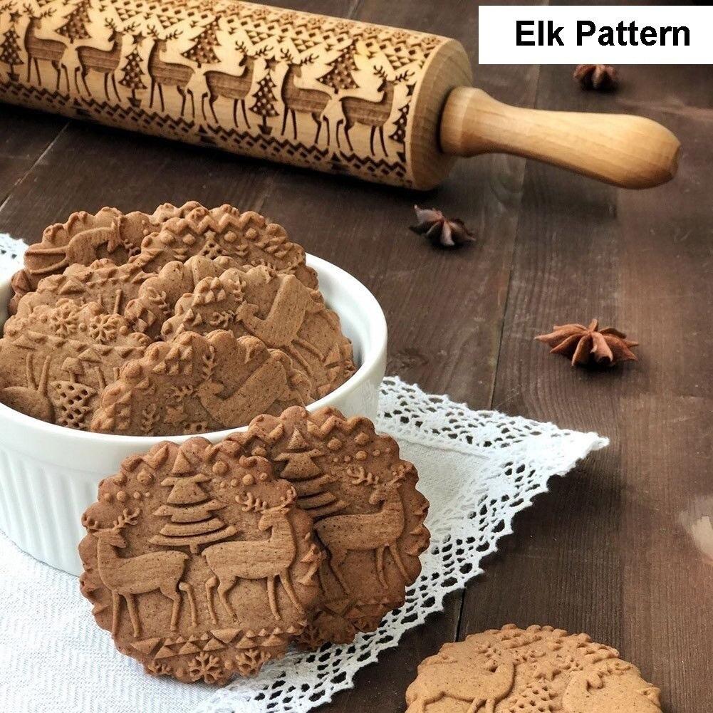 Rodillo de madera para hornear galletas en relieve Depory 5 x 5 x 35 cm