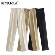 Kpytomoa mulheres 2021 chique moda escritório wear sólido calças retas do vintage de cintura alta zíper voar calças femininas mujer