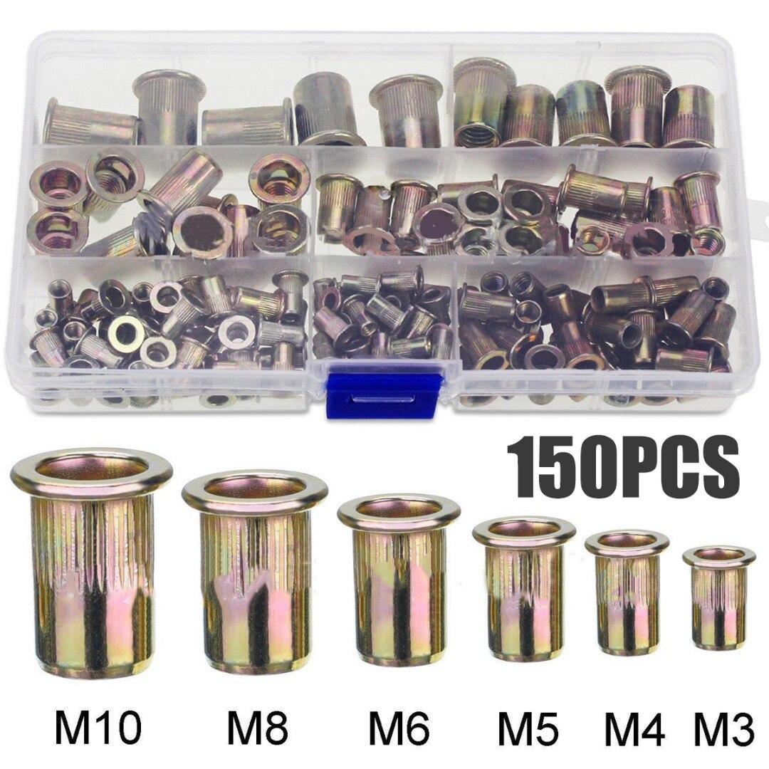 150PCS/box Zinc Plated Steel Rivet Nuts Flat Head Fastener Set Nuts Insert Riveting M3 M4 M5 M6 M8 M10 Multi Size