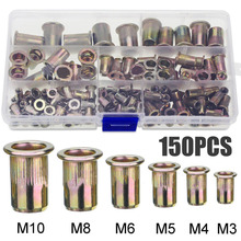 150PCS/box Zinc Plated Steel Rivet Nuts Flat Head Fastener Set Nuts Insert Riveting M3 M4 M5 M6 M8 M10 Multi Size цена 2017