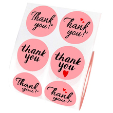 500pcs/lot 3.8cm Thank youround pink heart seal sticker for handmade products bakery label