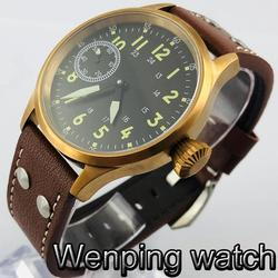 Corgeut 43mm Bronze Case Sapphire Glass Sterile Dial Luminous 17 Jewels Hand Winding 6497 movement Mens Top Classic Casual Watch