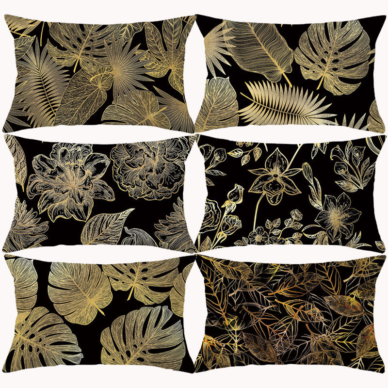 Black Gold Tropical Plant Leaf Cushion Cover Pillow Cover Flower Decortive Throw Pillows For Couch Pillowcase