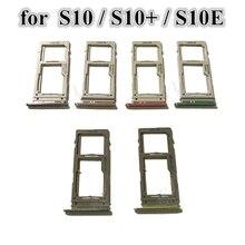 20 pçs/lote Dual & Single Sim Bandeja Para Samsung Galaxy S10 G973 S10 + Plus S10E Micro Sim Card Tray Titular Slot Parte Substituição