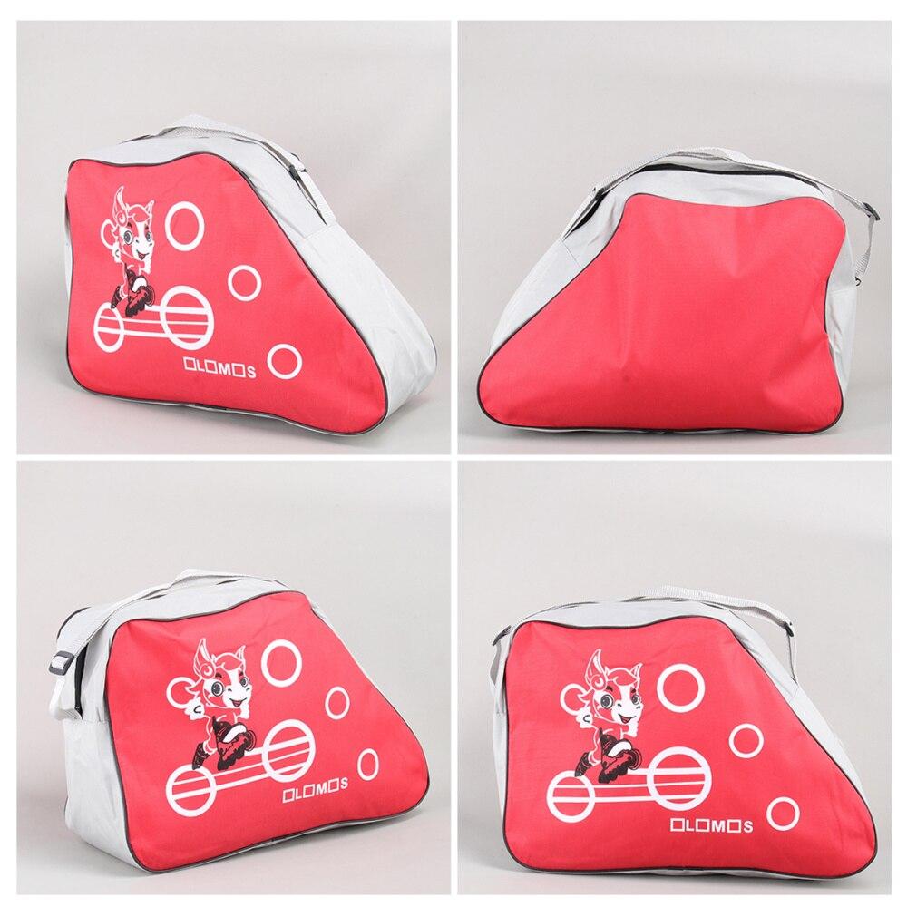 Fashionable Printed Portable Skating Shoes Storage Bag Adjustable Shoulder Strap Storage Organizer Roller Storage Bag (Red