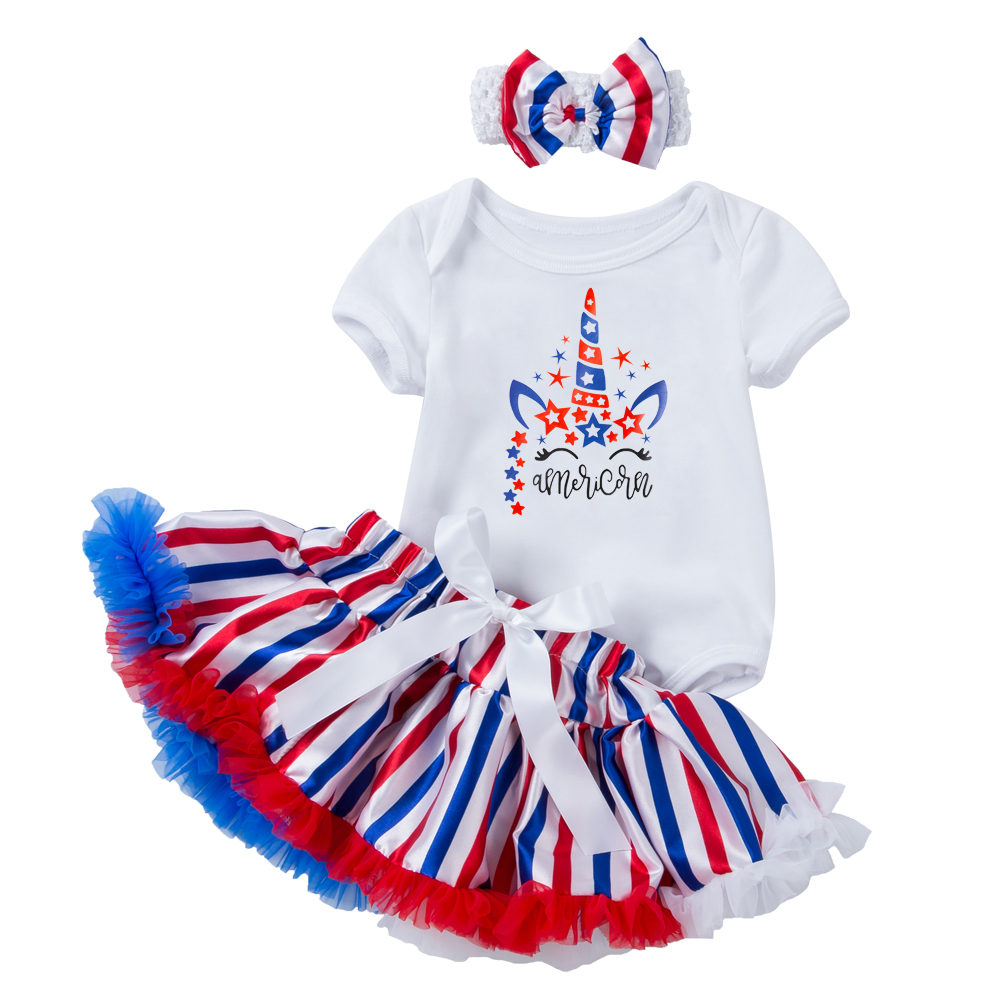 2021 New Baby Independence Day Clothing Summer Baby Girls 4th of July Outfits 3Pcs Bodysuit+Tutu Skirts+Headband Suits for girls