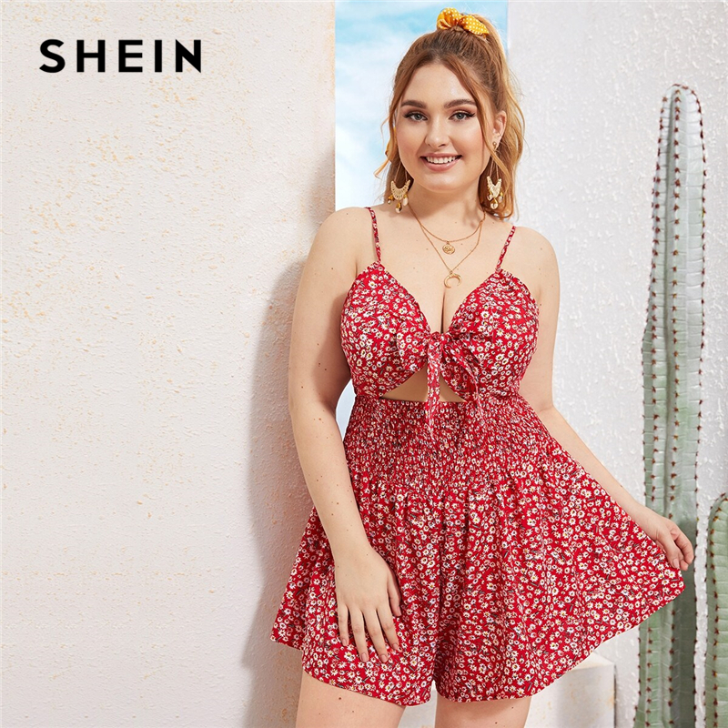 SHEIN Plus Size Tie Front Shirred Waist Ditsy Floral Peekaboo Rompers Womens Jumpsuit Summer Straps Boho Vacation Beach Playsuit