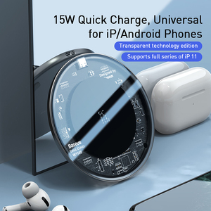 Image 2 - Baseus 15 ワットチーワイヤレス充電器 Iphone 11 プロ X Xs 最大ガラス高速 Wirless 用のパッドの充電サムスン S20 シャオ mi mi 10