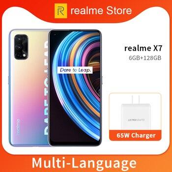 Перейти на Алиэкспресс и купить Realme X7 6 ГБ 128 Гб Смартфон 5G 6,4 дюймов полный Экран 64MP Quad камеры 4300 мА/ч, 65 Вт быстро Зарядное устройство Dimensity 800U