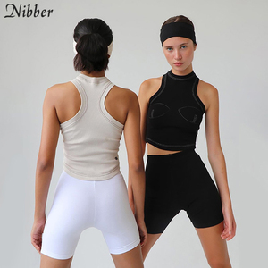 Image 2 - Nibber autumn new pure knitting crop top women street casual stretch Slim Active Wear black sleeveless tank top mujer Basic tees