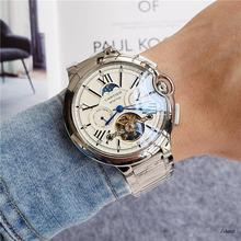 Мужские часы Топ бренд класса люкс Tonneau чехол Tourbillon автоматические механические мужские часы кожаный ремешок наручные часы 875
