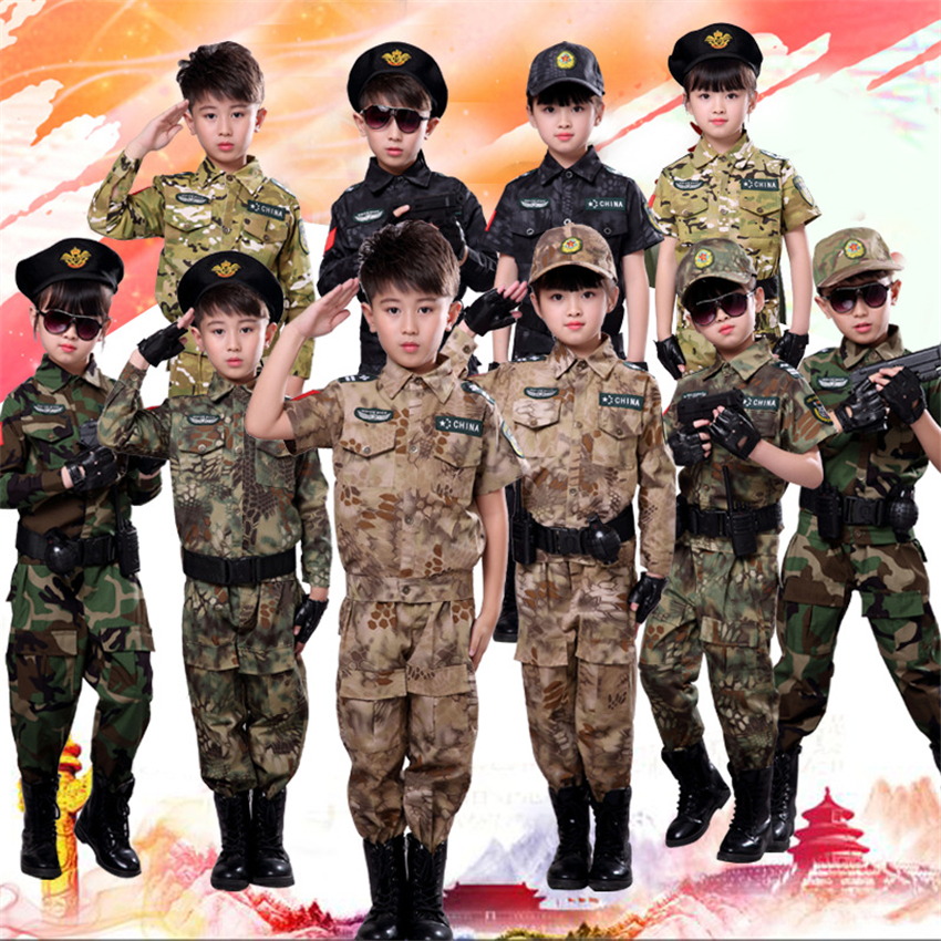 Children Military Combat Tactical Costumes ACU Camouflage Short&Long Army Suit Student Boys Outdoor Clothing Training Uniforms