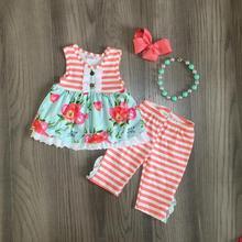 Primavera/estate coral mint floreale del fiore della banda capris del bambino delle ragazze abiti senza maniche volant in cotone boutique set partita accessori