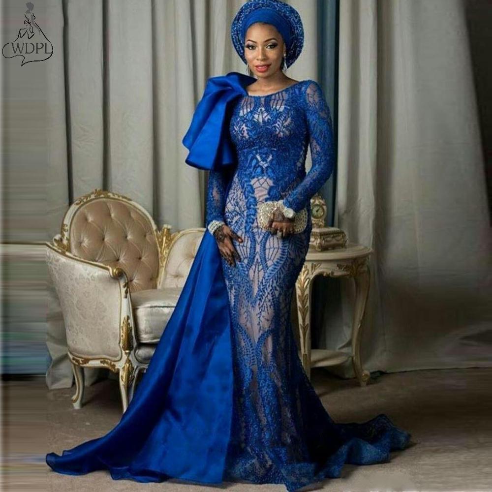 2019 Royal bleu à manches longues robes de bal dentelle arabe longue robe de soirée sirène grande taille afrique femmes formelle fête robe de reconstitution historique