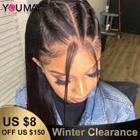 Straight Full Lace Human Hair Wig For Women Fake Scalp Transparent HD Full Lace Wig 180% Brazilian Straight Remy Hair You May