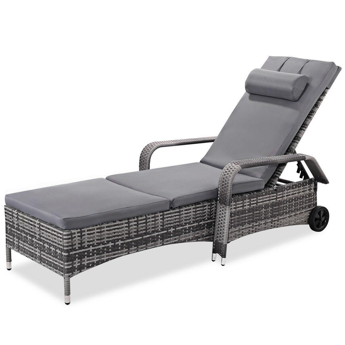 - Costway Outdoor Chaise Lounge Stuhl Liege Gepolsterten Terrasse