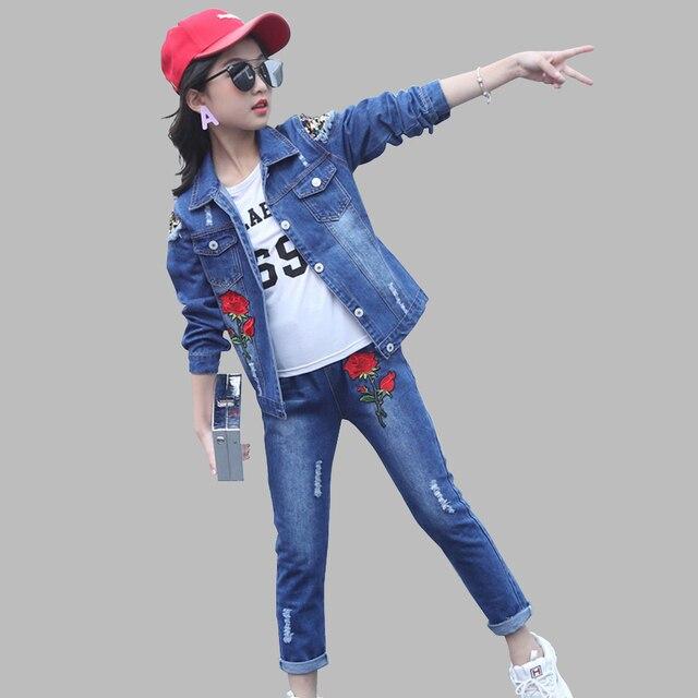 Abesay outono meninas conjunto rosa lantejoulas jaqueta + jeans roupas de moda para meninas adolescentes roupas de inverno para crianças 4 6 8 12 13 anos