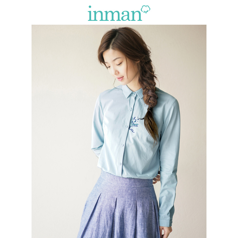 INMAN Women's Autumn Florals Cotton Embroidered Long Sleeves Shirt Blouse