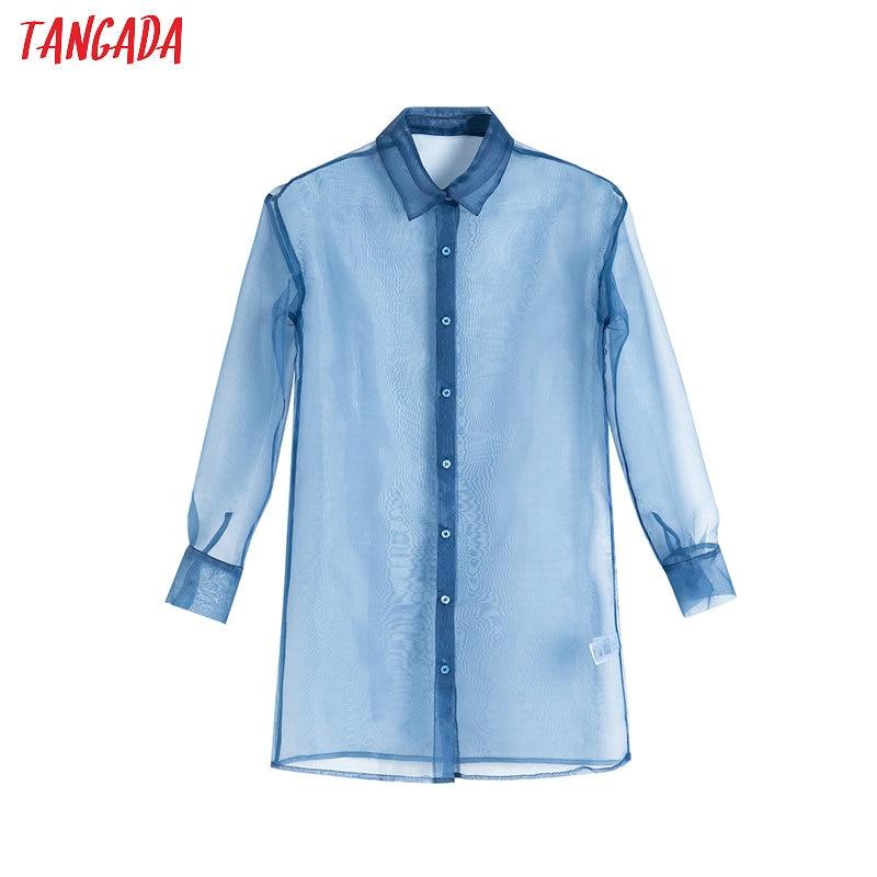 Tangada Women Chic Blue Blouse Organza Turn Down Collar Long Sleeve 2020 Female Sexy See Through Shirt Tops 4T13