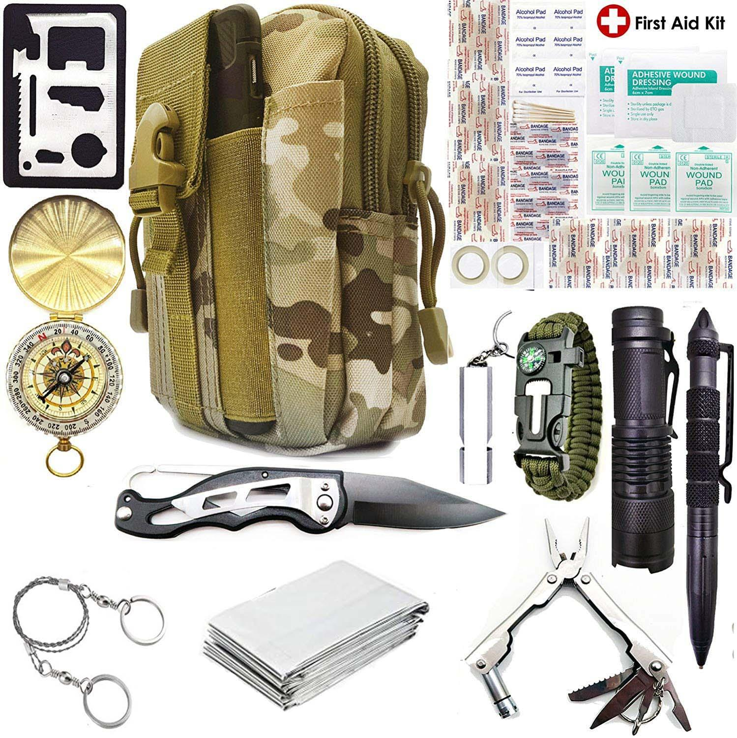 Survival Kit Set 40 In 1 Military Outdoor Tourism Multifunction First Aid SOS EDC Emergency Camping Tool Survival Kit Knife