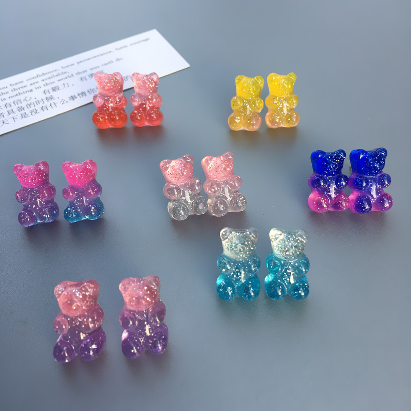 Fashion Funny Mini Multicolor Jelly Gummy Bears Drop Earrings For Women Lovely Little Animal Dangle Earrings Jewelry Brincos