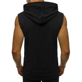 Mens Casual Sleeveless Comfortable Vest Sport Hoodie Zip Up Vest Shirt Man Bodybuilding Stringers Tank Tops Workout Singlet Top 2