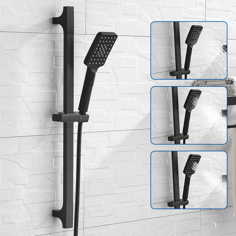 ABS Sliding Holder Square 3 Function Spray Hand Shower With Stainless Steel Sliding Rail And 1.5M Hose