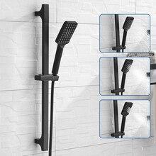 ABS przesuwne uchwyt kwadratowy 3 funkcja sprayu prysznic ręczny ze stali nierdzewnej prowadnica przesuwna i 1.5M wąż prysznicowy