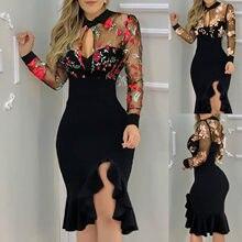 Kobiety rozcięcie Ruffles Hem kwiatowy wzór odchudzanie koronkowa sukienka z długim rękawem vestido de mujer letnia sukienka плация для женщин
