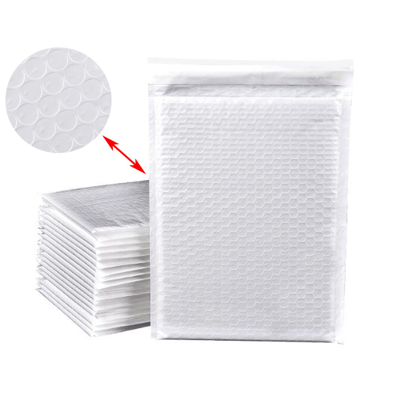10pcs / Pack, Office Mailing Waterproof And Shockproof White Composite Pearl Film Bubble Envelope For Postal Document Delivery