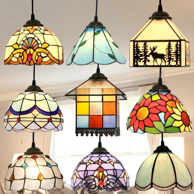 Modern Tiffany Baroque Stained Glass Suspended Luminaire E27 LED Iron Chain Pendant Light Lamp for Home Parlor Dining Room