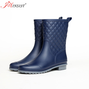 Image 3 - Women boots brand design Boots Rain Boot Shoes Woman Solid Rubber Waterproof Flats Fashion Shoes