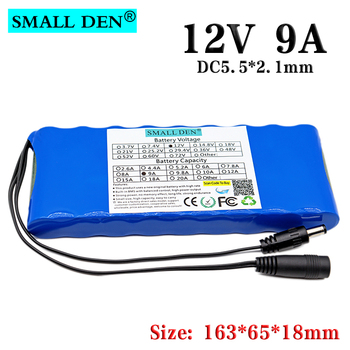 12V 9Ah 9000mAh 18650 lithium ion Rechargeable battery pack 10A BMS for lighting lamp radio monitor battery image