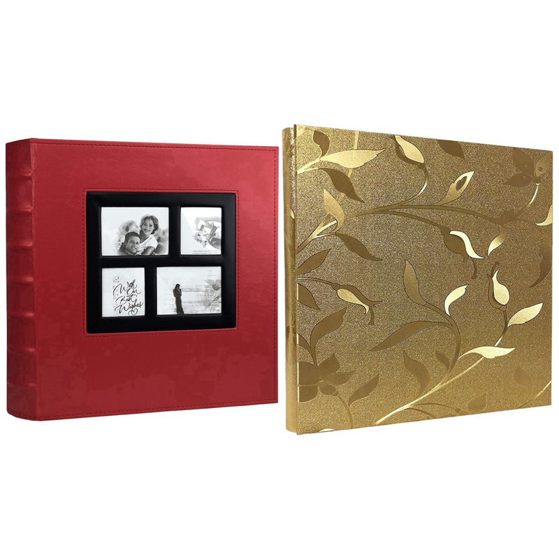 2 Pcs Photo Album Holds Pages Large Capacity Leather Cover Binder Wedding Albums Book-400 Sheets & 620 Sheets
