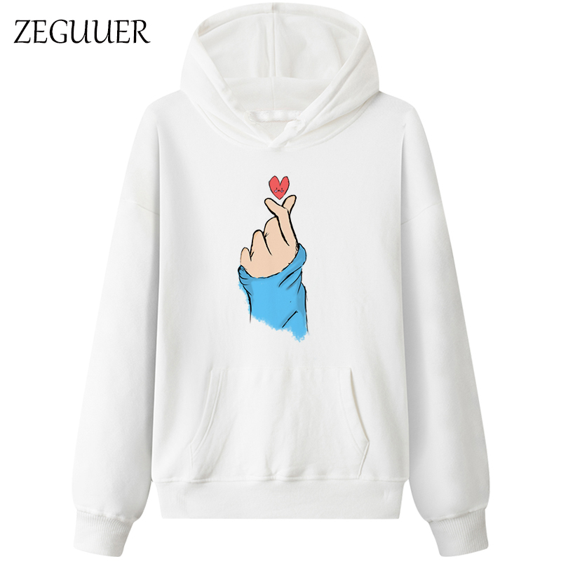 <font><b>K</b></font> <font><b>Pop</b></font> Finger Heart 2019 Casual Harajuku Kawaii Sweatshirts Women Funny Print Hoodies image