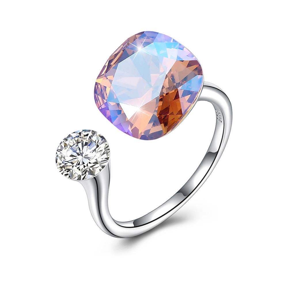 Original Real 925 Sterling Silver Rings With LEKANI Crystals From Swarovski Resizable Ring Diamond Shape Fine Jewelry Wedding