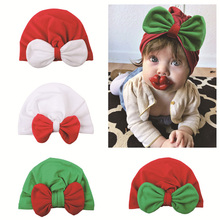2019 Christmas New Baby Headdress Child Contrast Bow Knotted Hat Elastic Turtleneck