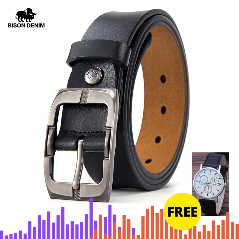 BISON DENIM Pin Buckle Men Belt Cow Genuine Leather Belt Luxury Strap Male Belts Classic Vintage High Quality Men Belt W71486