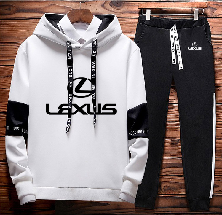 Hoodies Men Lexus Car Logo Printed Unisex Sweatshirt Men Hoodie Casual+Pants 2Pcs Sporting Suit Fleece Warm Thick Sportwear