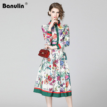 Banulin 2020 Spring Summer Fashion Runway Shirt Dress Women's Long Sleeve Casual Floral Stripe Print Pleated Midi Elegant Dress banulin summer runway designer bow neck pleated dress women lace patchwork floral print elegant holiday midi dress vestidos