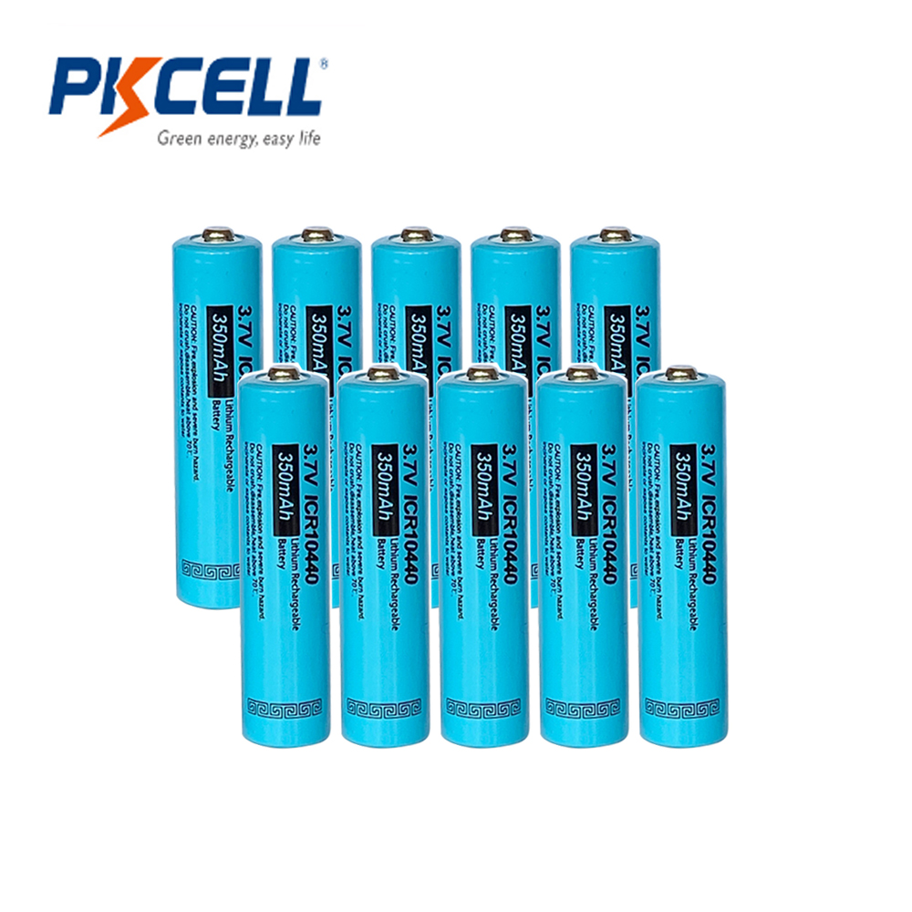 10xPKCELL AAA battery 3.7V 350mAh Lithium button Top ICR10440 10440 aaa Li ion Rechargeable Batteries Battery image