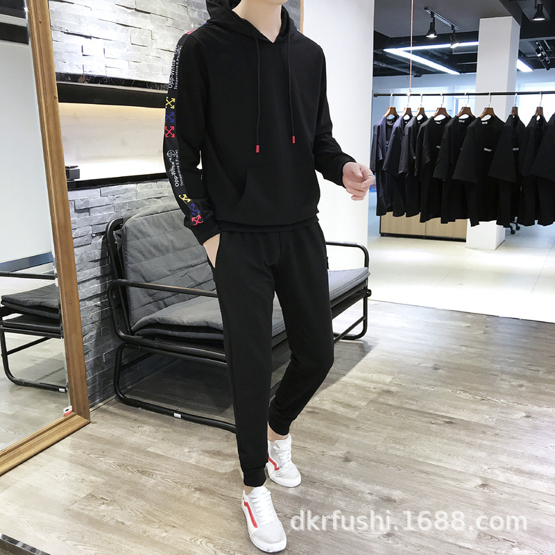 New Style MEN'S Casual Suit Men Hooded Pullover Hoody Fashion & Sports Capri Pants Set Two-Piece Set