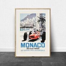 Cartel Vintage del Gran Premio de Monaco de 1965 impresiones de Michael Turner en lienzo de carreras de arrastre carteles en lienzo pintura en lienzo decoración de la pared del hogar