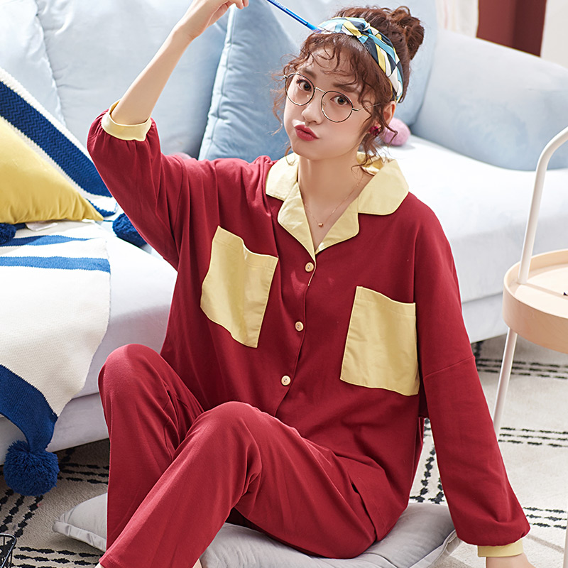 Spring And Autumn Thin Women's Plus Size Pure Cotton Household Suit Red Colour Pajamas Set
