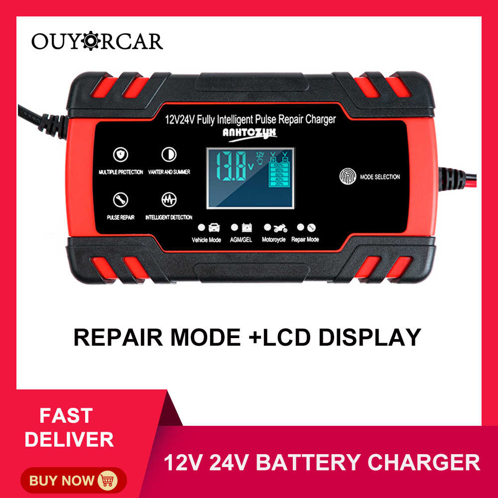 Baterai Charger Mobil 12/24V 8A Layar Sentuh Pulse Perbaikan LCD Cepat Pengisian Daya Kering Basah Asam Timbal digital LCD Display