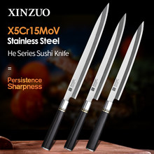 XINZUO Couteau de cuisine japonais saumon, ustensile à fileter le poisson 240/270/300mm X5Cr15MoV en acier inoxydable, Pro Sushi Sashimi pour le saumon, Manche en ébène