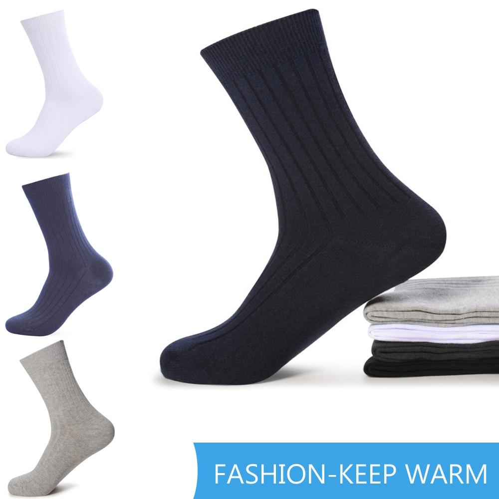 Men's Cotton Socks Thicken Warm Black Business Breathable Men Socks Spring Summer Autumn Winter For Male US Size(7-12)